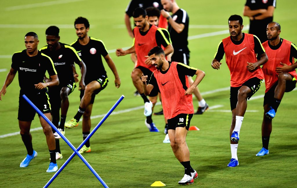 DOHA, Sept. 5, 2019 - Players of Qatar attend a training session for the FIFA World Cup Qatar 2022 and AFC Asian Cup China 2023 Preliminary Joint Qualification between Qatar and Afghanistan in Doha, ...