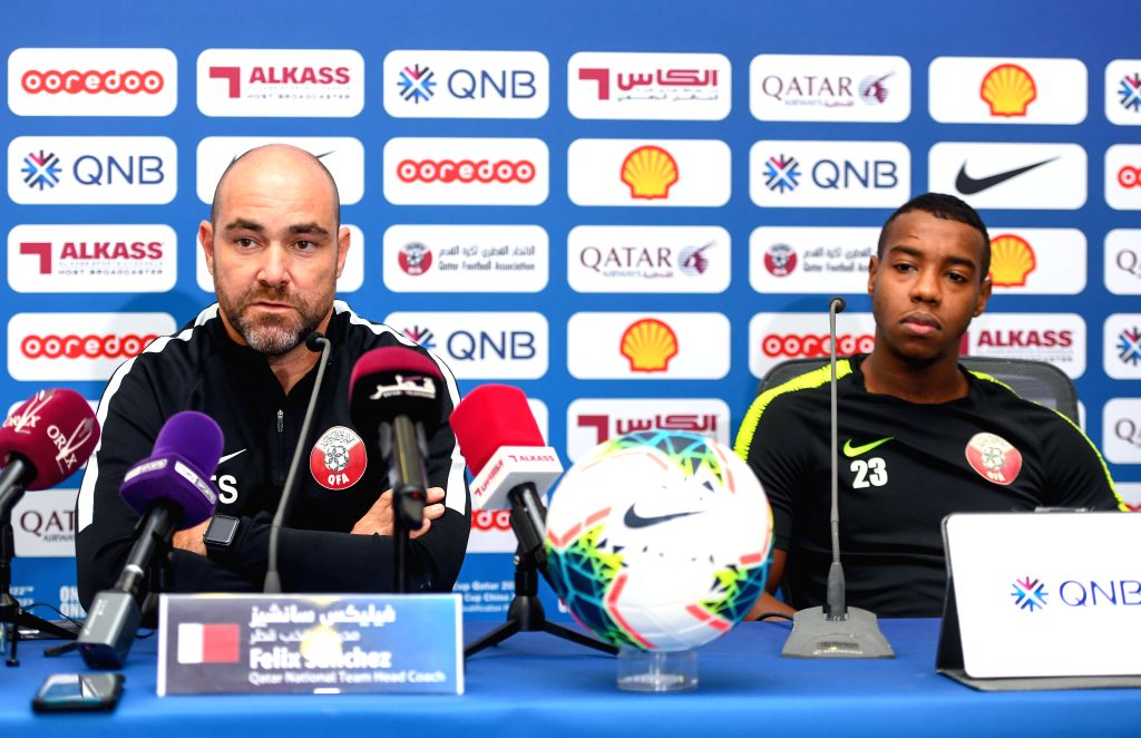 DOHA, Sept. 5, 2019 - Qatar's national soccer team head coach Felix Sanchez Bas (L) and player Assim Madibo attend a press conference for the FIFA World Cup Qatar 2022 and AFC Asian Cup China 2023 ...