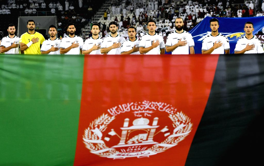 DOHA, Sept. 6, 2019 - Players of Afghanistan stand for their national anthem before the FIFA World Cup Qatar 2022 and AFC Asian Cup China 2023 Preliminary Joint Qualification second round Group E ...
