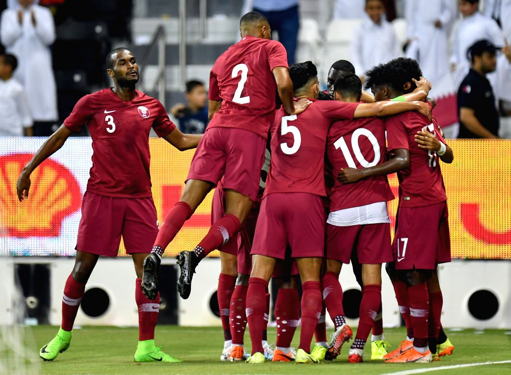 DOHA, Sept. 6, 2019 - Players of Qatar celebrate during the FIFA World Cup Qatar 2022 and AFC Asian Cup China 2023 Preliminary Joint Qualification second round Group E football match between Qatar ...