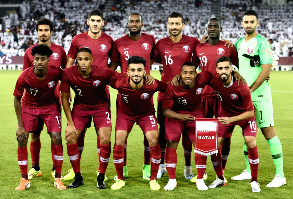 DOHA, Sept. 6, 2019 - Players of Qatar pose before the FIFA World Cup Qatar 2022 and AFC Asian Cup China 2023 Preliminary Joint Qualification second round Group E football match between Qatar and ...