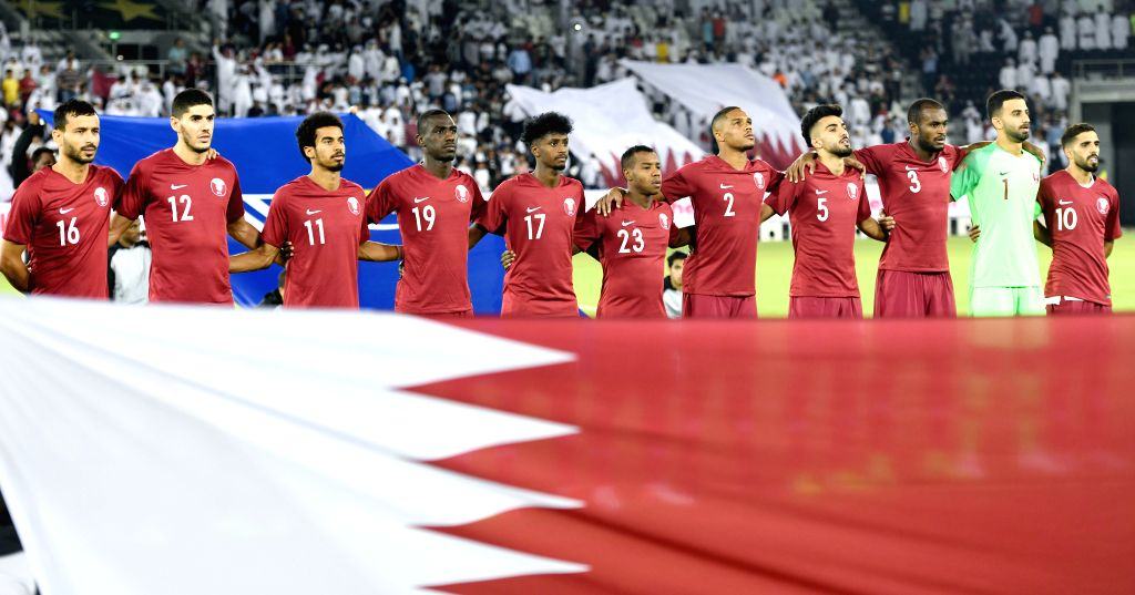 DOHA, Sept. 6, 2019 - Players of Qatar stand for their national anthem before the FIFA World Cup Qatar 2022 and AFC Asian Cup China 2023 Preliminary Joint Qualification second round Group E football ...