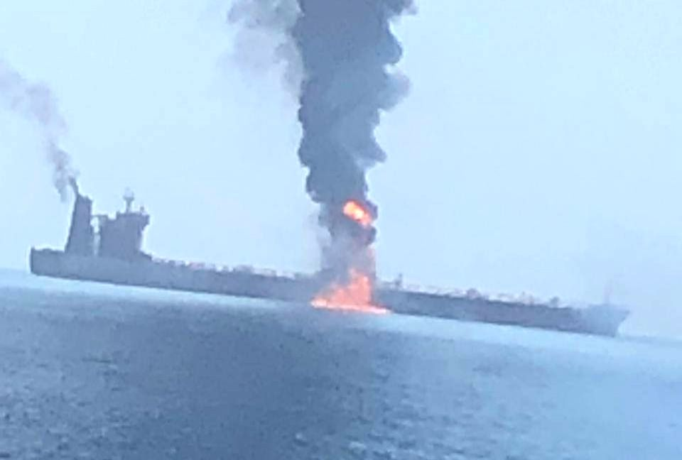 Doha: Two oil tankers were hit in a suspected attack in the Gulf of Oman and all crew members onborad were evacuated, on June 13, 2019. The tankers were struck in the same area where the US accused Iran of using naval mines to sabotage four other oil