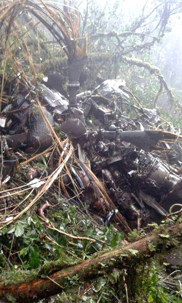 DOI INTHANON NATIONAL PARK(THAILAND), Aug. 15, 2016 Cellphone photo shows helicopter wreckage in Doi Inthanon National Park in Chiang Mai Province, Thailand, on Aug. 15, 2016. The bodies ...