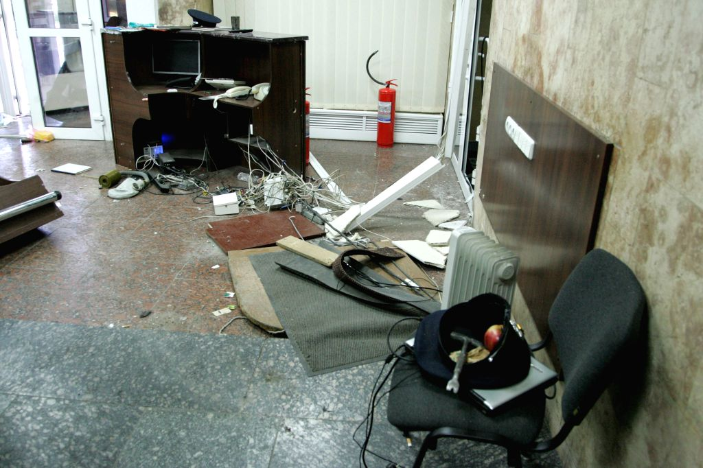 A room of regional police department is seen after a clash in eastern Ukrainian city of Donetsk, July 1, 2014. A group of unknown armed people stormed the regional ..