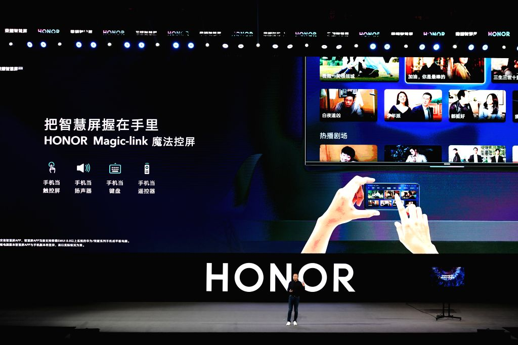 DONGGUAN, Aug. 10, 2019 - George Zhao, president of Huawei's sub-brand HONOR, unveils HONOR Vision series during the Huawei Developer Conference held in Dongguan, south China's Guangdong Province, ...