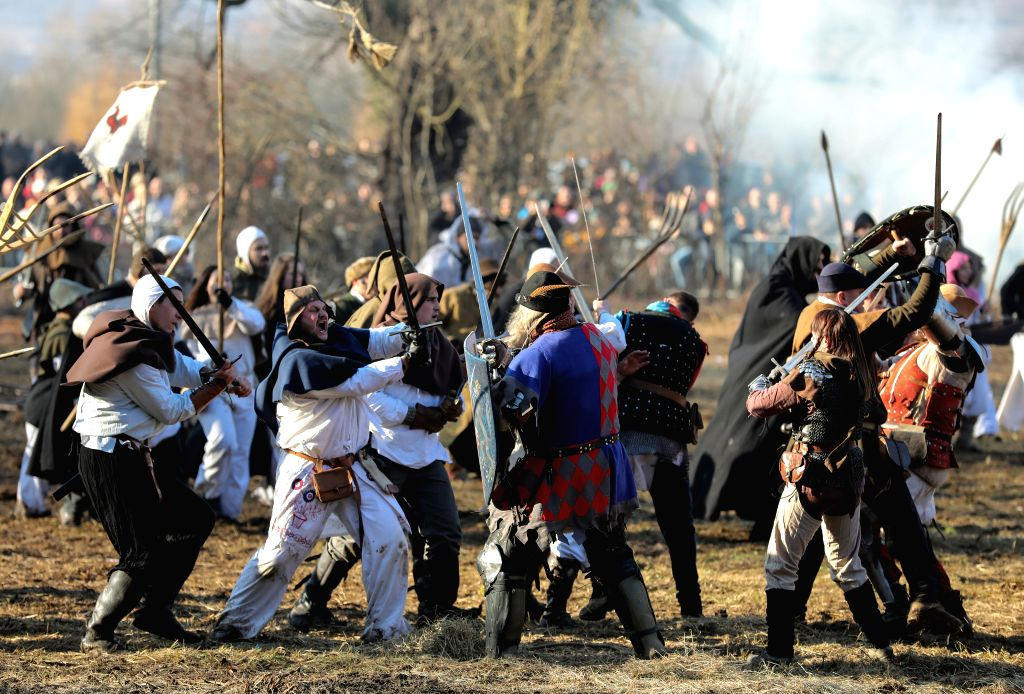 DONJA STUBICA (CROATIA), Feb. 9, 2019 People re-enact an ancient battle of peasant uprising which took place in 1573, in Donja Stubica, Croatia, on Feb. 9, 2019.