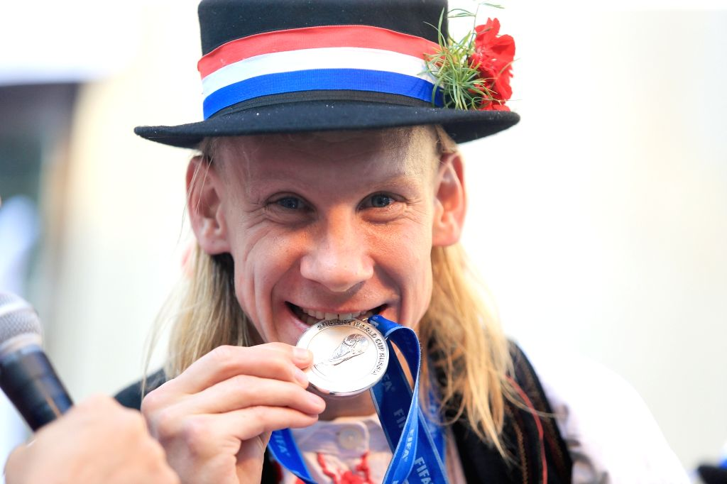 DONJI MIHOLJAC, July 18, 2018 - Croatian football player Domagoj Vida bites his World Cup medal during celebration in Donji Miholjac, Croatia, on July 17, 2018. Croatia won the second place at the ...