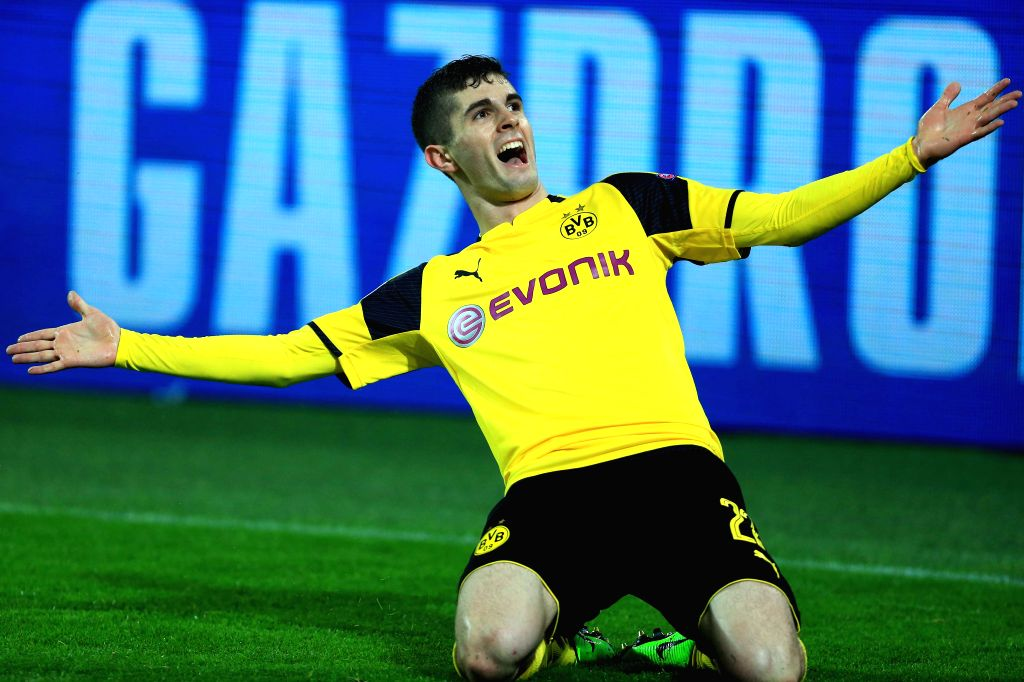 DORTMUND, March 9, 2017 (Xinhua) -- Christian Pulisic of Borussia Dortmund celebrates scoring during the UEFA Champions League Round of 16 second leg match between Borussia Dortmund and SL Benfica at Signal Iduna Park in Dortmund, Germany, on March 8