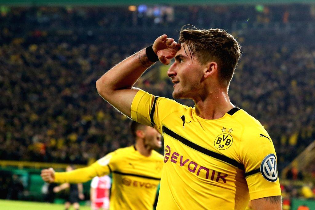 DORTMUND, Nov. 1, 2018 - Maximilian Philipp of Borussia Dortmund celebrates scoring during the DFB Cup match between Borussia Dortmund and Union Berlin in Dortmund, Germany, Oct. 31, 2018. Borussia ...