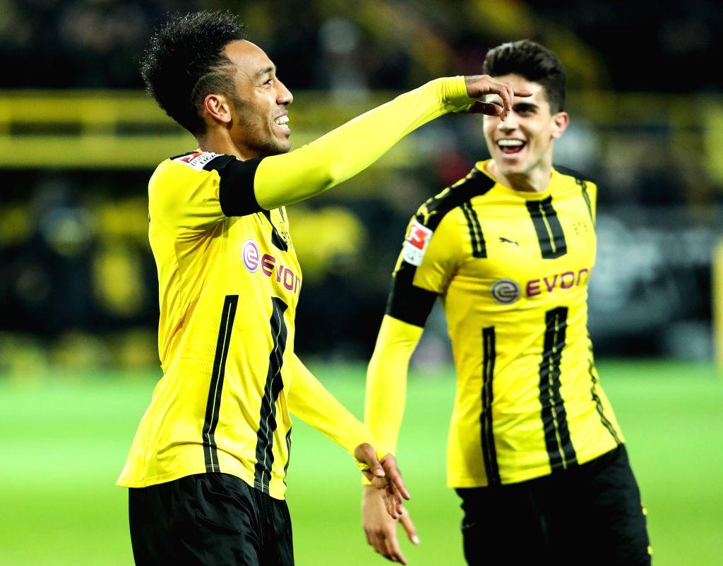 DORTMUND, Nov. 20, 2016 - Pierre-Emerick Aubameyang (L) of Dortmund celebrates scoring during the German Bundesliga soccer match between Borussia Dortmund and Bayern Munich in Dortmund, Germany, ...