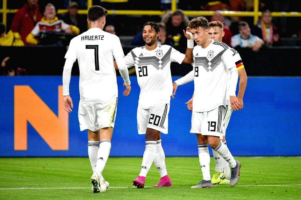 DORTMUND, Oct. 10, 2019 - Players of Germany celebrate scoring during an international friendly soccer match between Germany and Argentina in Dortmund, Germany, Oct. 9, 2019.