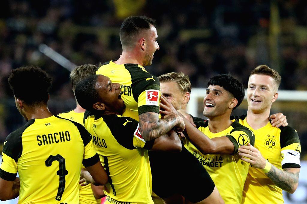 DORTMUND, Sept. 15, 2018 - Paco Alcacer of Borussia Dortmund celebrates after scoring during the Bundesliga match between Borussia Dortmund and Eintracht Frankfurt at Signal Iduna Park in Dortmund, ...