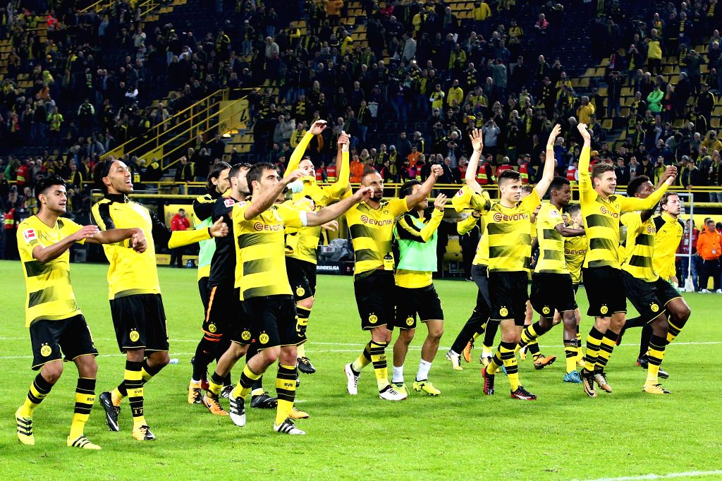 DORTMUND, Sept. 18, 2017 - Players of Borussia Dortmund celebrates after winning the Bundesliga soccer match against 1.FC Cologne at the Signal Iduna Park in Dortmund, Germany on Sept. 17, 2017. ...