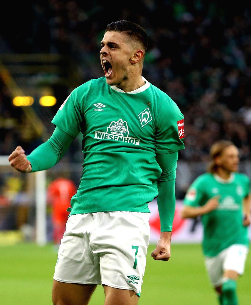 DORTMUND, Sept. 29, 2019 - Milot Rashica of Bremen celebrates after scoring during a German Bundesliga soccer match between Borussia Dortmund and SV Werder Bremen in Dortmund, Germany, Sept. 28, 2019.
