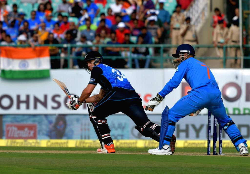 Doug Bracewell of New Zealand in action during the first One Day International match between India and New Zealand at Himachal Pradesh Cricket Association Stadium in Dharamsala on Oct 16, ...