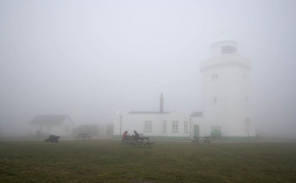 DOVER, Feb. 23, 2019 - A lighthouse is seen in thick fog in Dover, Britain, on Feb. 22, 2019.