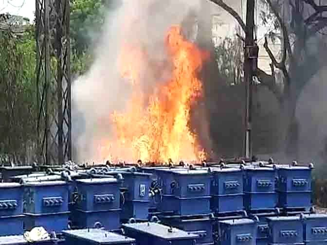 Dozens of new transformers were gutted in the mishap when a major fire engulfed an electricity store near NPDCL office, in Karimnagar on August 29, 2020.