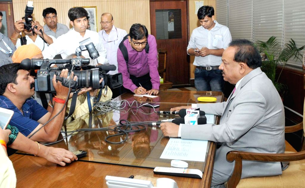 Dr. Harsh Vardhan interacts with media after taking charge as the Minister of Environment, Forest and Climate Change, in New Delhi on May 22, 2017.