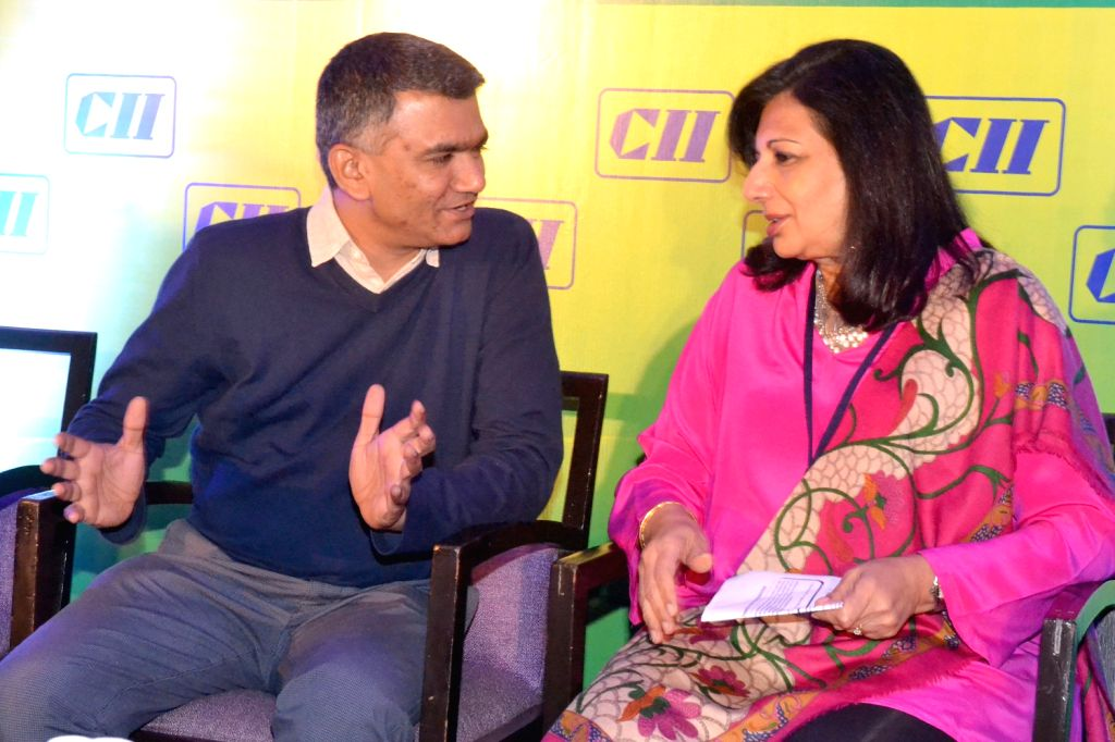 Dr. Kiran Mazumdar Shaw, Chairman, CII National Committee on Biotechnology and CMD Biocon Ltd. with Karnataka Agriculture Minister Krishna Byre Gowda during the 3rd National Conference on ... - Krishna Byre Gowda