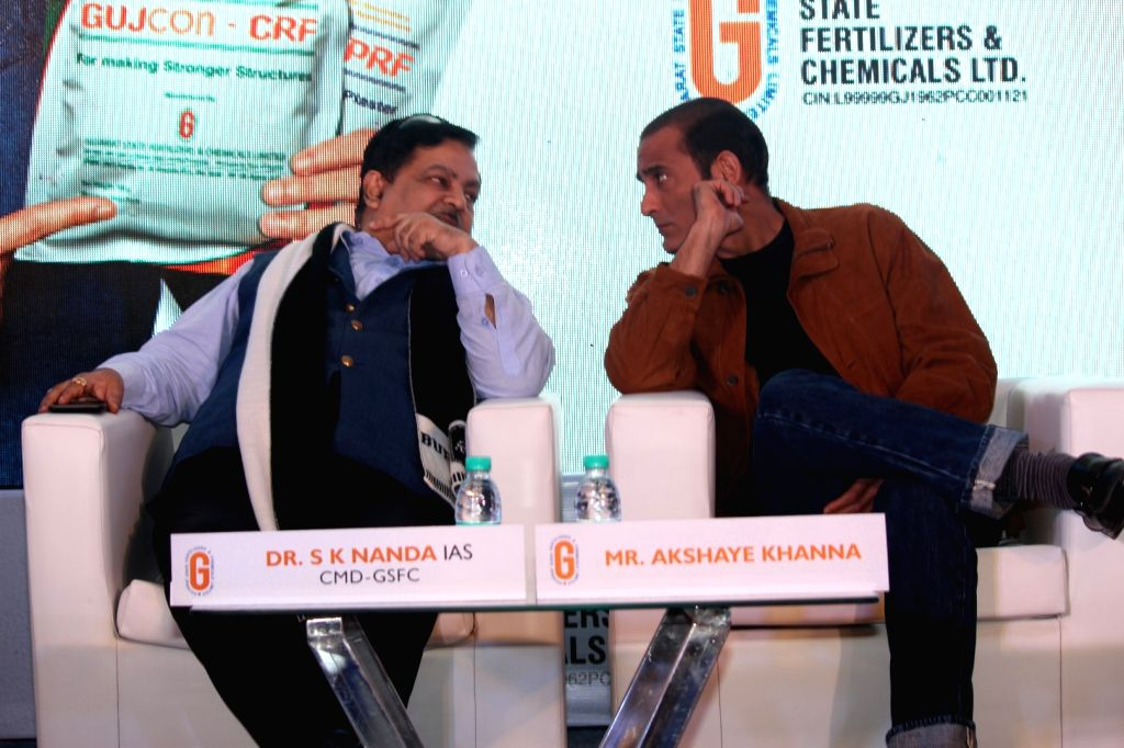 Dr. S.K. Nanda and actor Akshaye Khanna during the launch of Gujcon product. - Akshaye Khanna