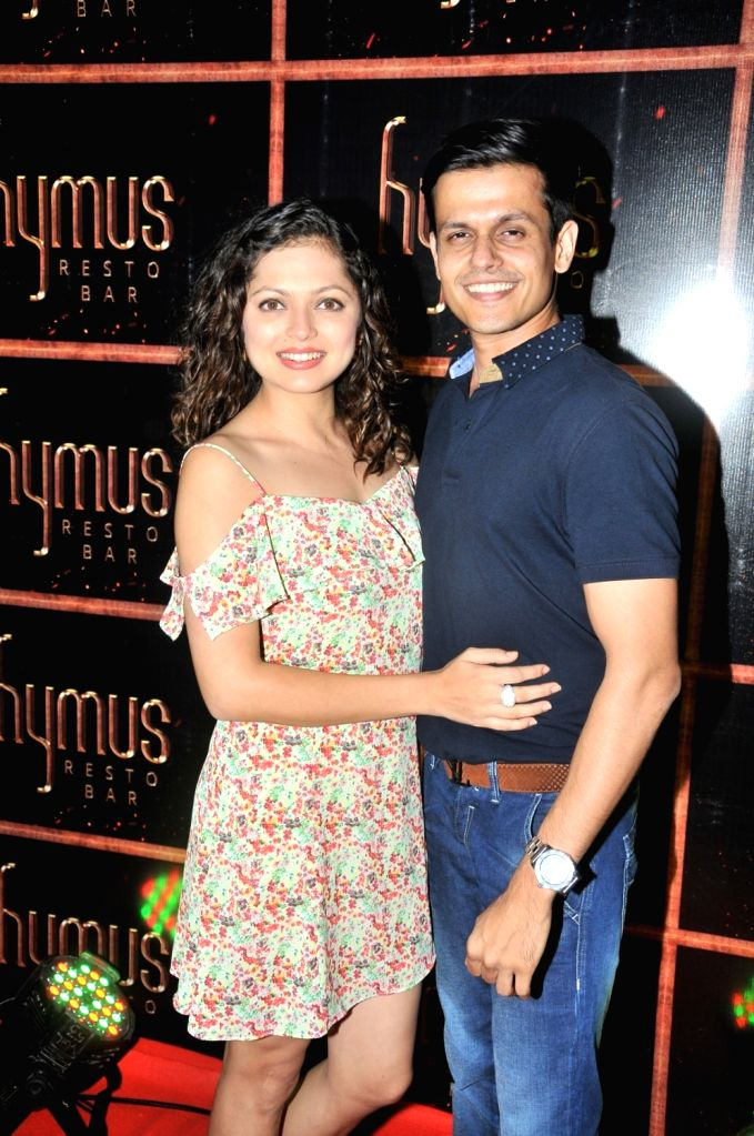 Drashti Dhami with Husband during the party organised to celebrate the opening of Hymus Resto Bar in Mumbai, on August 12, 2016.