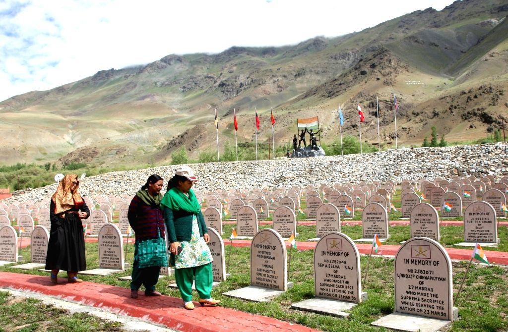 Drass: Veer Naris - the widows of Kargil war heroes - visit Kargil War Memorial at Drass of Jammu and Kashmir on July 23, 2015. (Photo: IANS)