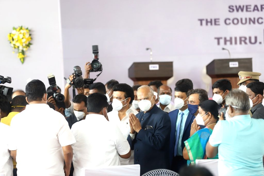 Dravida Munnetra Kazhagam (DMK) President Muthuvel Karunanidhi Stalin being sworn-in as the Chief Minister of Tamil Nadu by Governor Banwarilal Purohit, during a ceremony at Rajbhavan, in ...