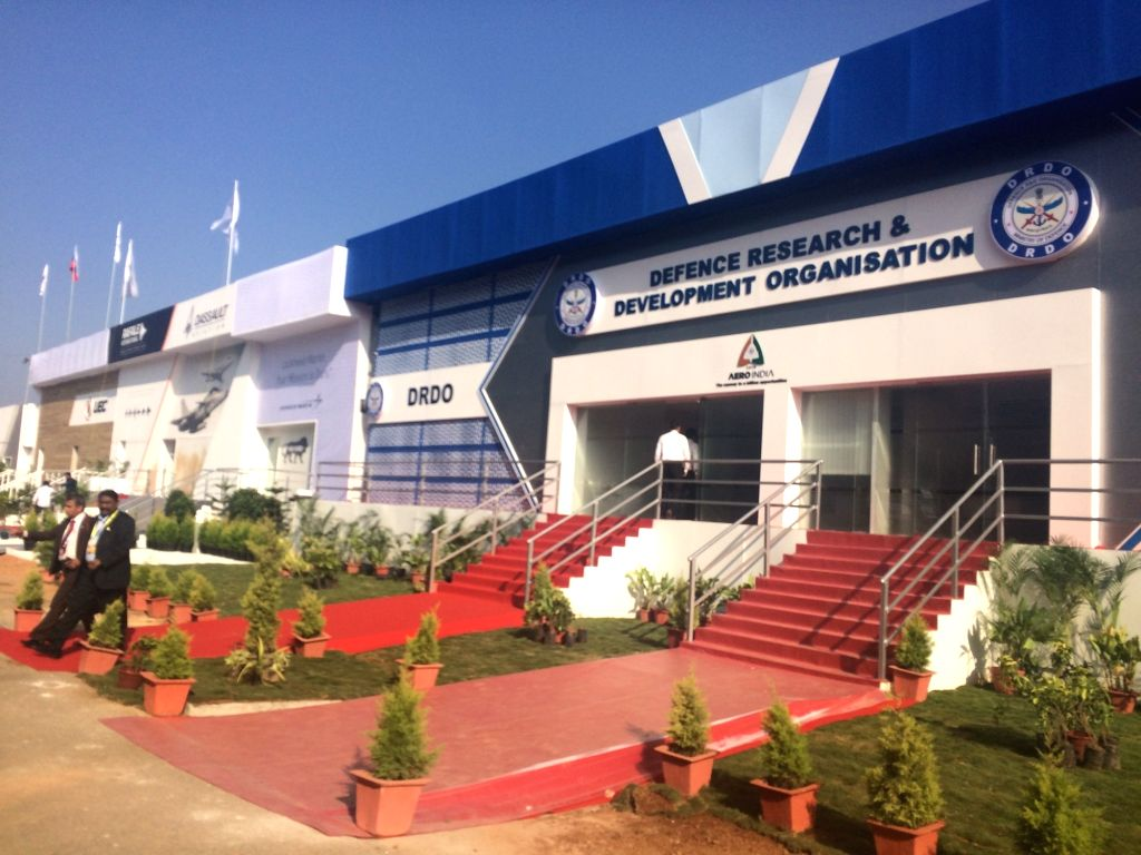 DRDO pavilion at Aero India 2019 - air show that is being held at at Yelahanka Air Force Station, in Bengaluru, on Feb 20, 2019.
