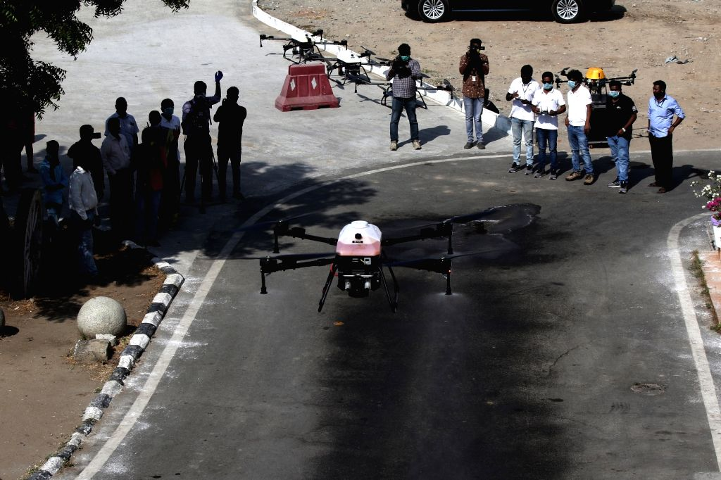 Drones being used to spray disinfectants across Chennai on Day 2 of the 21-day nationwide lockdown imposed by the Narendra Modi government over the coronavirus pandemic; on March 26, 2020. - Narendra Modi