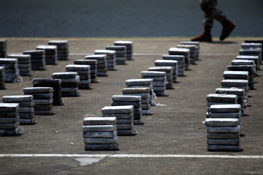 Drug packages are shown during a press conference, in the City of Panama, capital of Panama, on July 27, 2015. The National Air and Naval Service (SENAN) seized ...