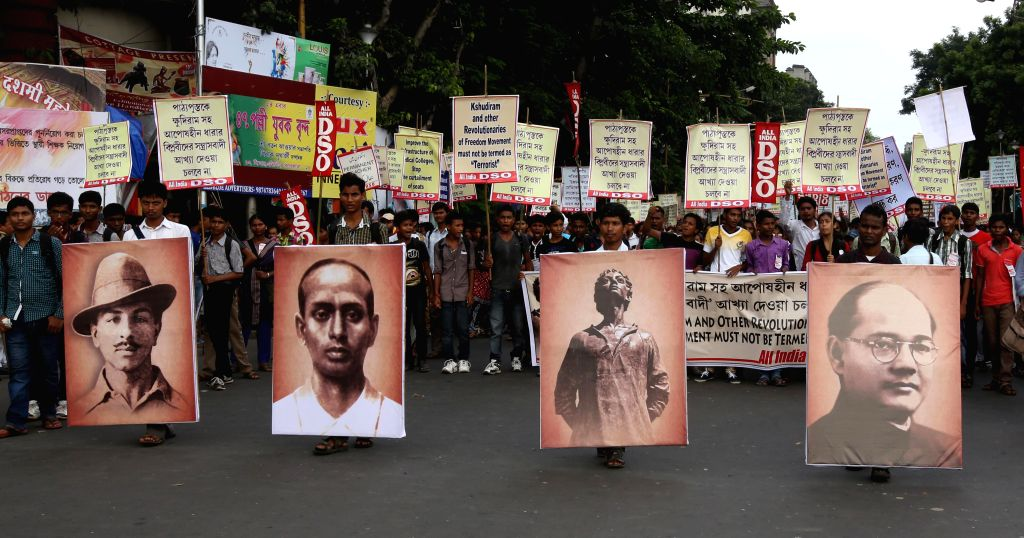 DSO activists participate in a rally against West Bengal Government in Kolkata on Sept 10, 2014.
