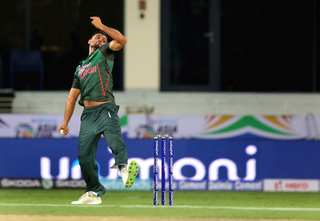 Dubai: Bangladesh skipper Mashrafe Mortaza in action during Asia Cup 2018 Group B match between Bangladesh and Sri Lanka at Dubai International Cricket Stadium in Dubai, UAE on Sept 15, 2018. (Photo: Surjeet Yadav/IANS) - Surjeet Yadav