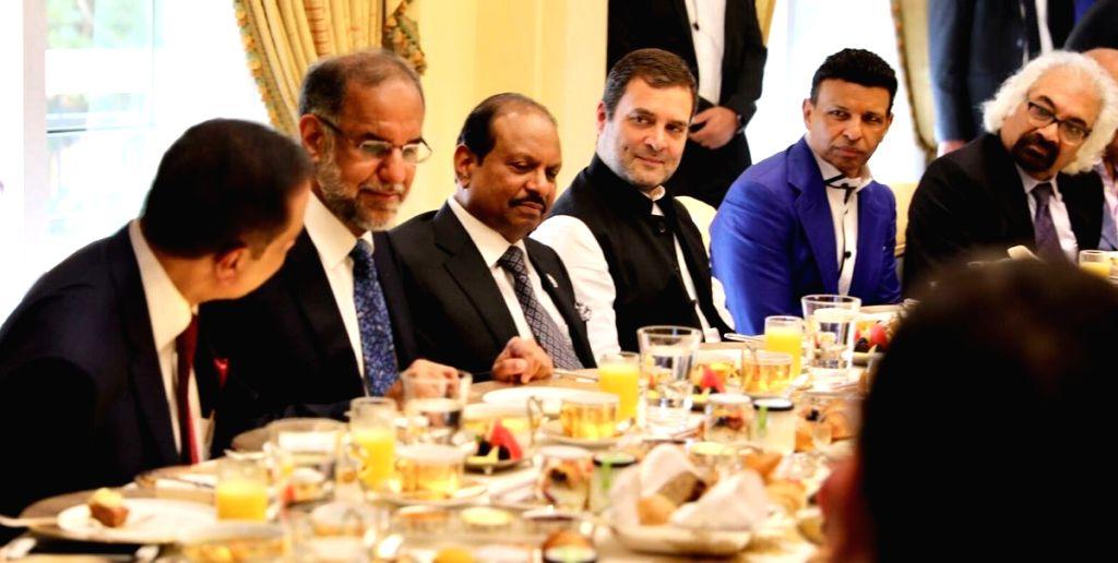 Dubai: Congress President Rahul Gandhi at a business breakfast hosted by an Indian entrepreneur Sunny Varkey, in Dubai, UAE, on Jan 11, 2019. (Photo: IANS/Congress) - Rahul Gandhi