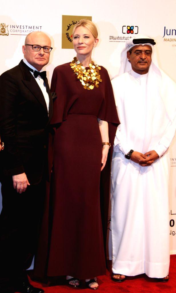 Australian actress Cate Blanchett (C) poses for photos during the Dubai International Film Festival in Dubai, the United Arab Emirates, Dec. 6, 2013. The 10th ... - Cate Blanchett