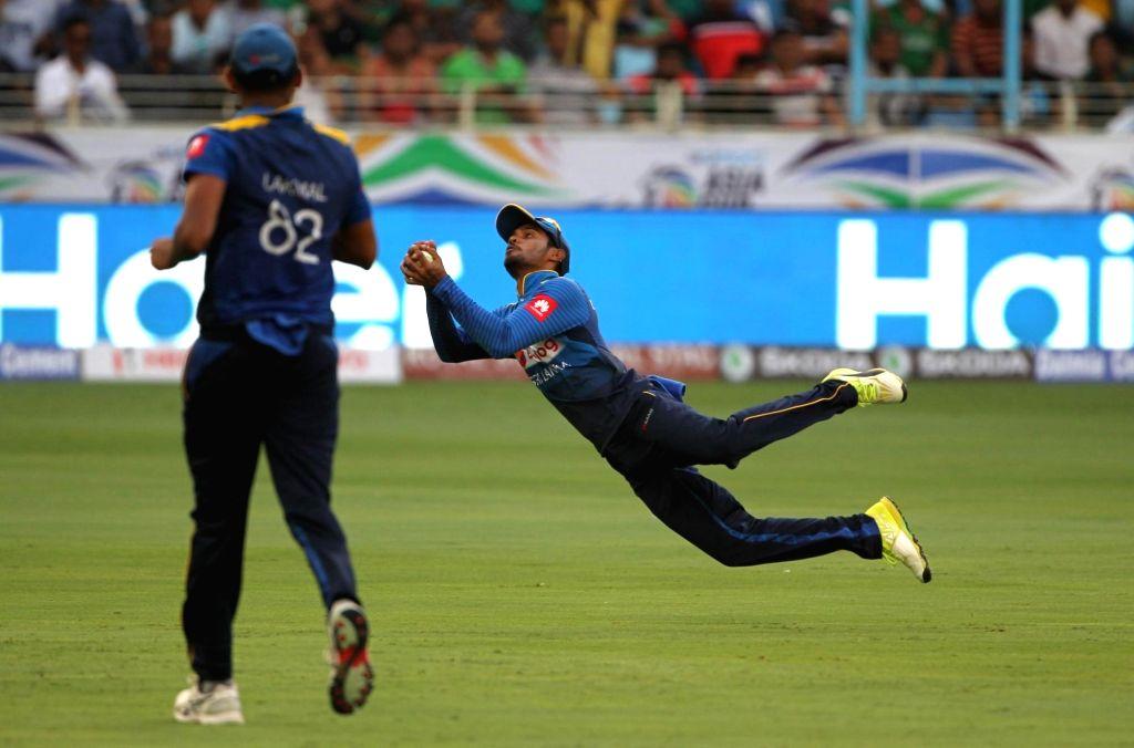 Dubai: Dhananjaya de Silva of Sri Lanka takes a catch during Asia Cup 2018 Group B match between Bangladesh and Sri Lanka at Dubai International Cricket Stadium in Dubai, UAE on Sept 15, 2018. (Photo: Surjeet Yadav/IANS) - Surjeet Yadav