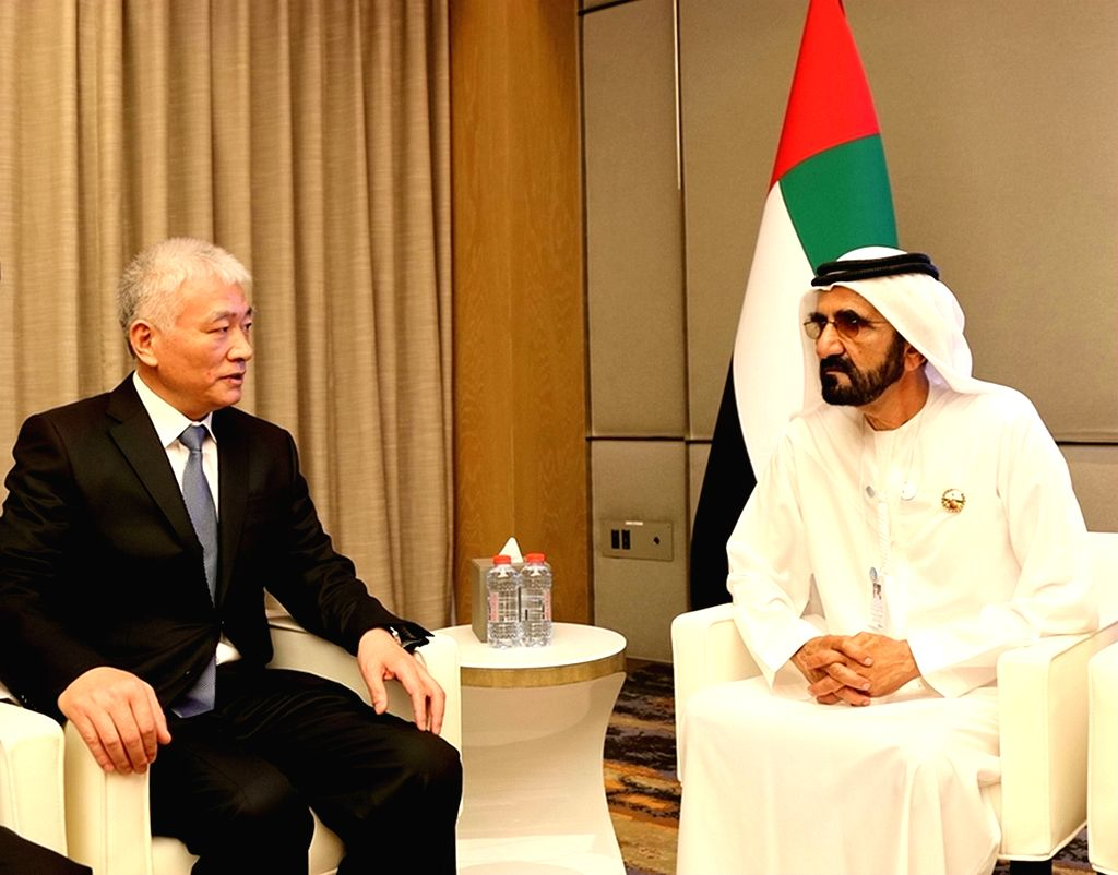 DUBAI, Feb. 12, 2019 - Wang Zhigang (L), Chinese President Xi Jinping's special envoy and minister of science and technology, meets with United Arab Emirates (UAE) Vice President, Prime Minister and ...