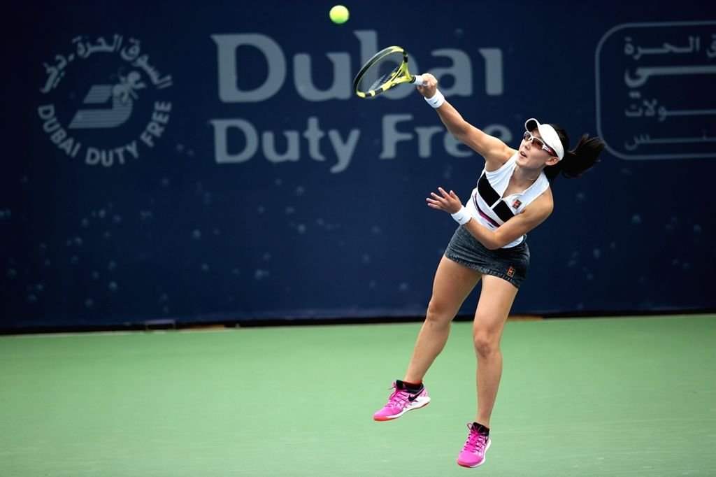 DUBAI, Feb. 17, 2019 - Zheng Saisai of China serves the ball against Ajla Tomljanovic of Australia during the women's singles first round match of Dubai Duty Free Tennis WTA Championships 2019 in ...