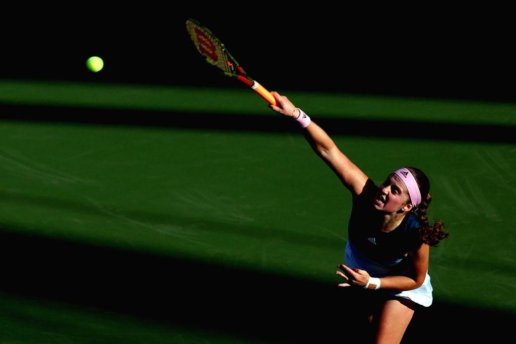 DUBAI, Feb. 18, 2019 - Jelena Ostapenko of Latvia serves during the women's singles first round match against Jennifer Brady of the United States at Dubai Duty Free Tennis WTA Championships 2019 in ...
