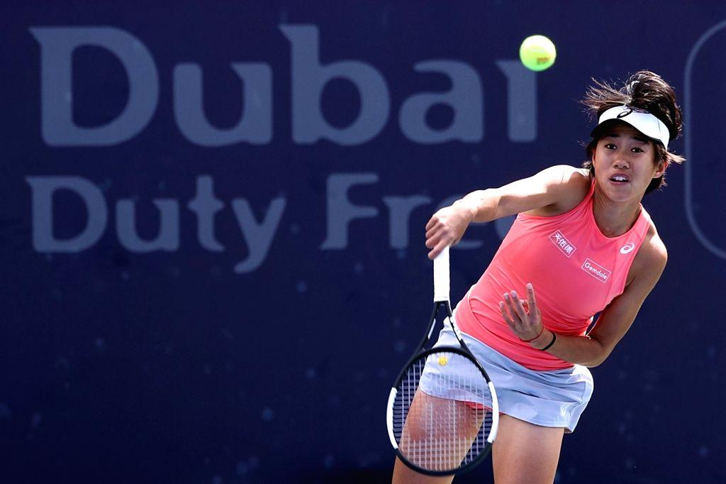 DUBAI, Feb. 18, 2019 - Zhang Shuai of China serves during the women's singles first round match against Anett Kontaveit of Estonia at Dubai Duty Free Tennis WTA Championships 2019 in Dubai, the ...