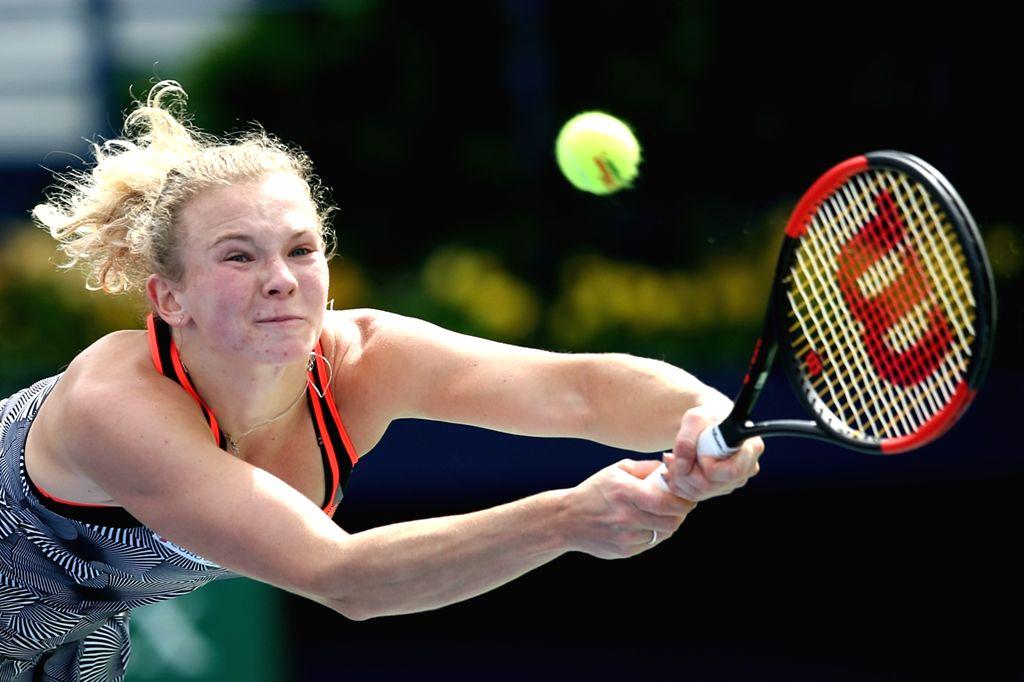DUBAI, Feb. 19, 2019 - Katerina Siniakova returns a shot during the women's singles second round match between Katerina Siniakova and Petra Kvitova of the Czech Republic at Dubai Duty Free Tennis WTA ...