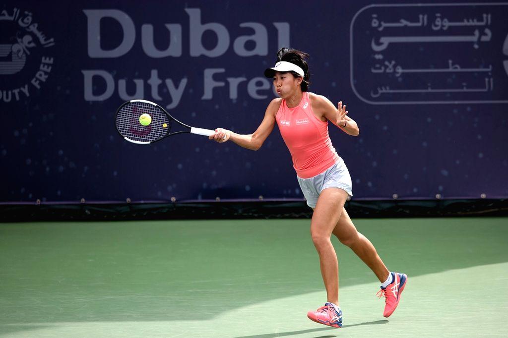 DUBAI, Feb. 19, 2019 - Zhang Shuai hits a return during the women's singles second round match between Carla Suarez Navarro of Spain and Zhang Shuai of China at Dubai Duty Free Tennis WTA ...
