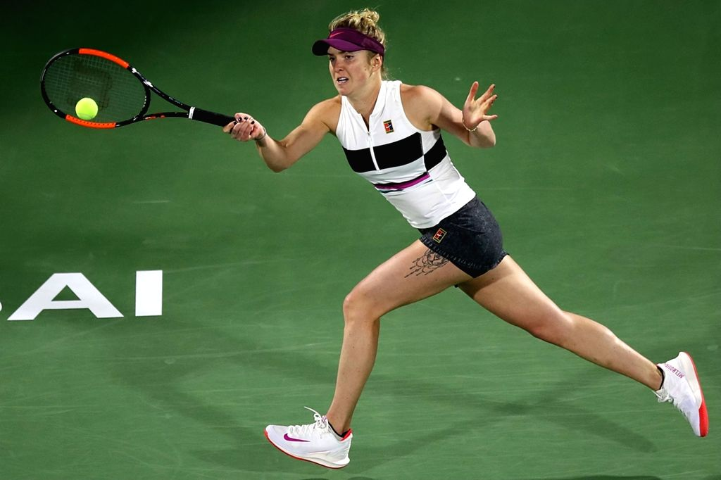 DUBAI, Feb. 21, 2019 - Elina Svitolina of Ukraine returns the ball during the women's singles third round match against Garbine Muguruza of Spain at Dubai Duty Free Tennis WTA Championships 2019 in ...