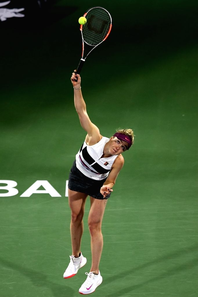 DUBAI, Feb. 21, 2019 - Elina Svitolina of Ukraine serves during the women's singles third round match against Garbine Muguruza of Spain at Dubai Duty Free Tennis WTA Championships 2019 in Dubai, the ...