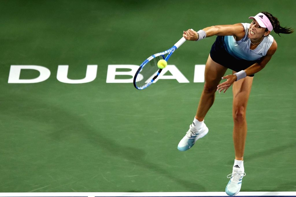 DUBAI, Feb. 21, 2019 - Garbine Muguruza of Spain serves during the women's singles third round match against Elina Svitolina of Ukraine at Dubai Duty Free Tennis WTA Championships 2019 in Dubai, the ...