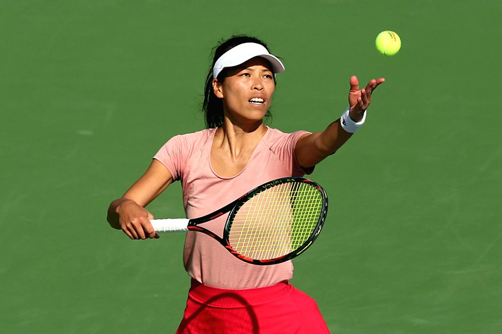 DUBAI, Feb. 21, 2019 - Hsieh Su-wei serves during the women's singles quarterfinal match between Hsieh Su-wei of Chinese Taipei and Karolina Pliskova of the Czech Republic at Dubai Duty Free Tennis ...