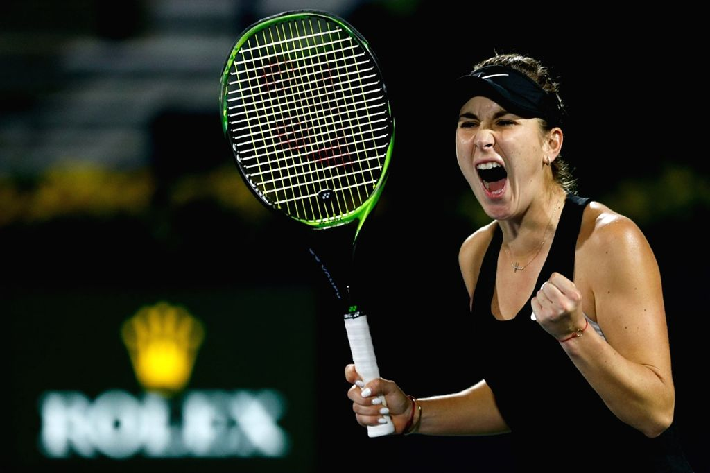 DUBAI, Feb. 22, 2019 - Belinda Bencic of Switzerland celebrates after winning during the women's singles quarterfinal match against Simona Halep of Romania at Dubai Duty Free Tennis WTA Championships ...