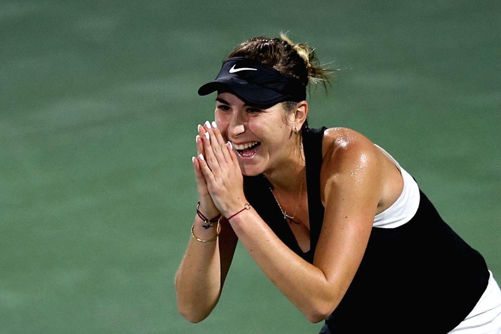 DUBAI, Feb. 23, 2019 - Belinda Bencic of Switzerland celebrates after winning  the women's singles semifinal match against Elina Svitolina of Ukraine at Dubai Duty Free Tennis WTA Championships 2019 ...