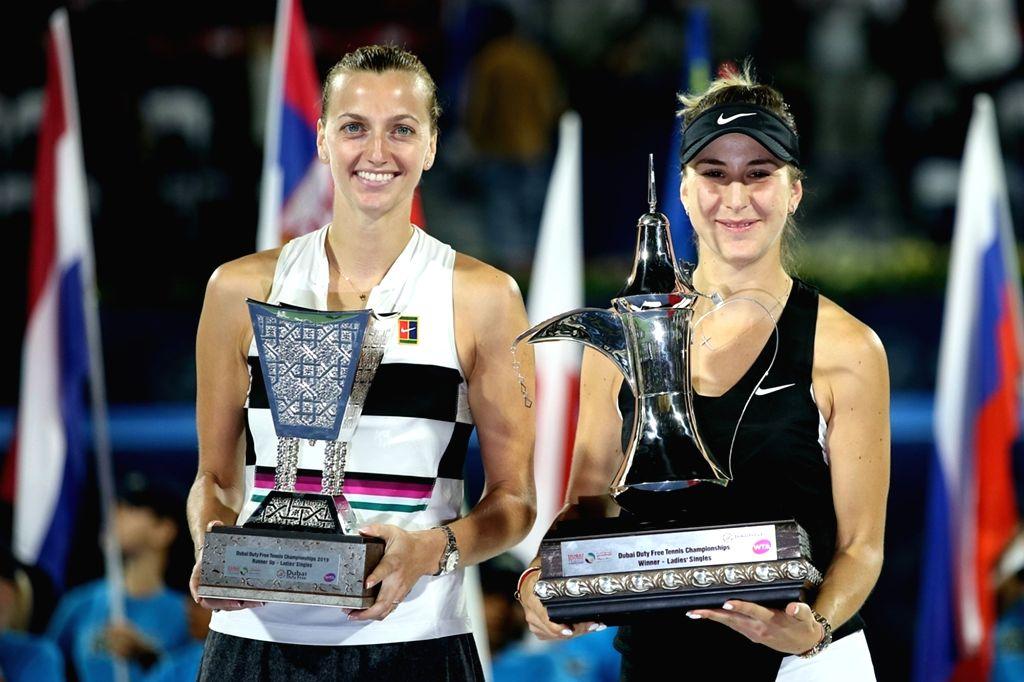 DUBAI-, Feb. 24, 2019 Belinda Bencic (R) of Switzerland and Petra Kvitova of the Czech Republic pose with trophy after the women's singles final match at Dubai Duty Free Tennis WTA ...