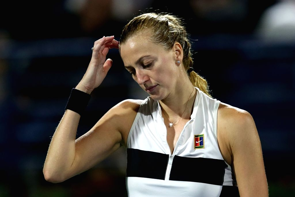 DUBAI-, Feb. 24, 2019 Petra Kvitova of the Czech Republic reacts during the women's singles final match between Belinda Bencic of Switzerland and Petra Kvitova of the Czech Republic at ...